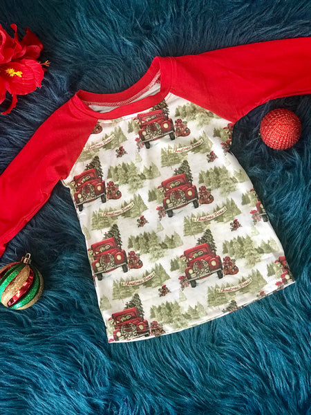 New Fall Christmas Holiday Trucking Fun Shirt C - JEN'S KIDS BOUTIQUE