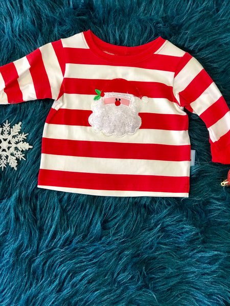 Christmas Boys Red & White Stripped Santa CH - JEN'S KIDS BOUTIQUE