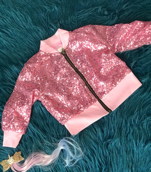 New Fall Stunning Pink Fun Sequin Jacket - JEN'S KIDS BOUTIQUE