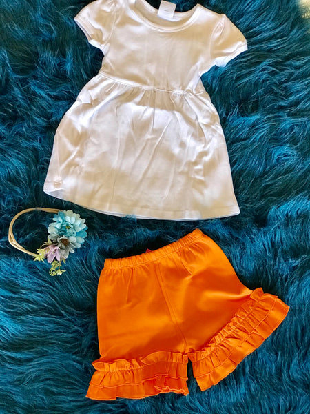 2018 Spring Easter Orange Ruffle Cotton Shorts