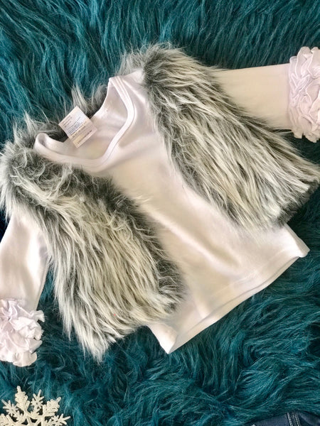 2018 Fall Bohemian Babes Grey Fox Fur Vest - JEN'S KIDS BOUTIQUE