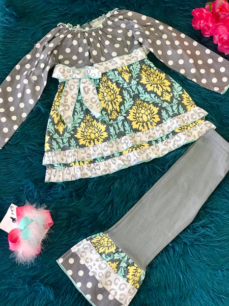 Fall Ann Loren Blue & Gray Ruffle Pant Set - JEN'S KIDS BOUTIQUE