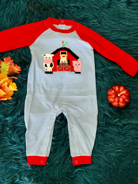 Fall Be Mine Boys Blue Stripped Applique Farm Romper - JEN'S KIDS BOUTIQUE