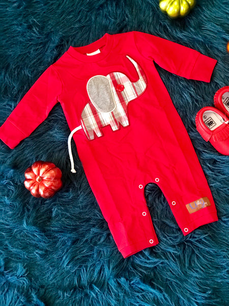 2018 Fall Millie Jay Boys  Elephant Romper - JEN'S KIDS BOUTIQUE