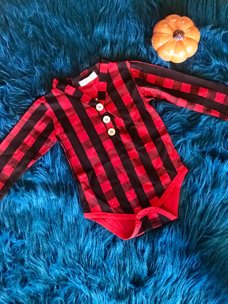 Fall Adorable Infant Plaid Boys Long Sleeve Cotton Romper CH - JEN'S KIDS BOUTIQUE