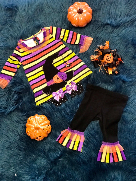 2018 Halloween Colorful Witch Hat Pant Set - JEN'S KIDS BOUTIQUE