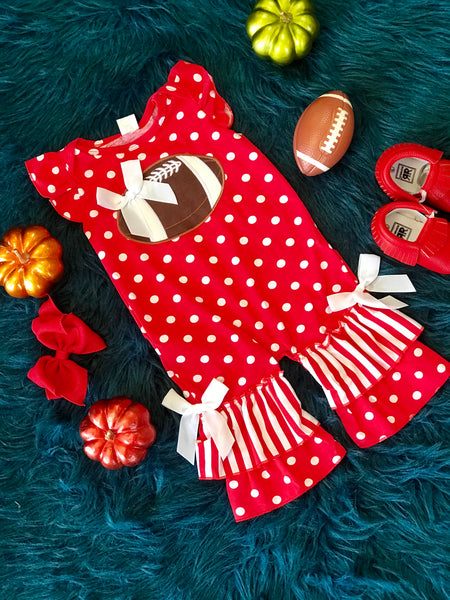2018 Fall Game Day Red Polka Dot Football Infant Romper - JEN'S KIDS BOUTIQUE