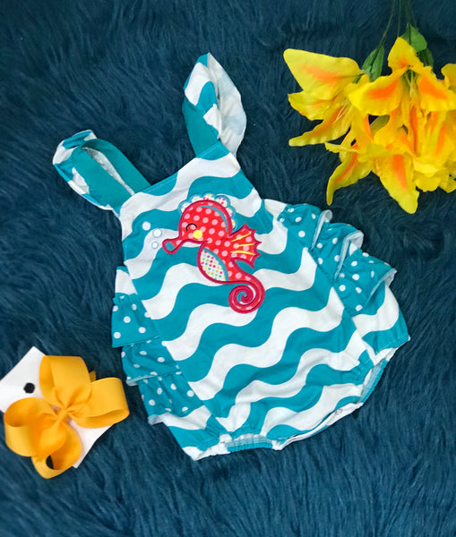 Summer Fun Aqua Chevron Sea Horse Ruffle Bubble - JEN'S KIDS BOUTIQUE