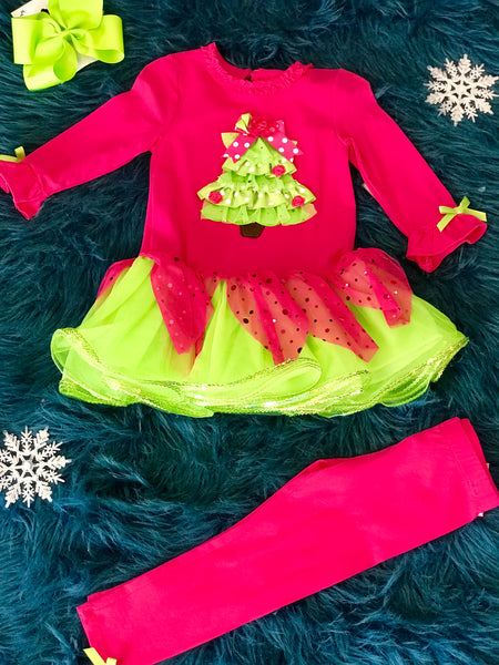 Hot Pink & Lime Christmas Tree Pant Set - JEN'S KIDS BOUTIQUE