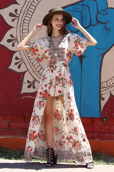 Spring Women's Cream Rose With V Neck  Floral Maxi Romper With Surplus the New Misses Line - JEN'S KIDS BOUTIQUE