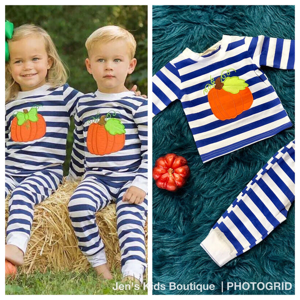 New Fall Stripped Pumpkin Pajamas - JEN'S KIDS BOUTIQUE