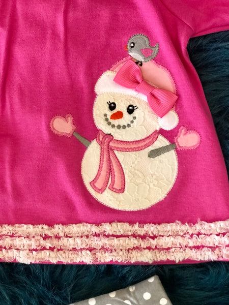 Molly & Millie By Peaches N Cream Pink & Gray Christmas Snowman Set CH - JEN'S KIDS BOUTIQUE
