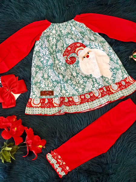 New Christmas Millie Jay Santa Applique Legging Set - JEN'S KIDS BOUTIQUE