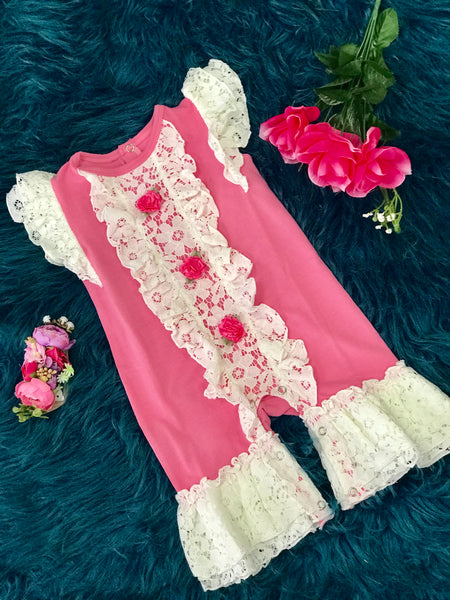 Spring & Summer Sassy Me Adorable Pink Floral Infant Romper - JEN'S KIDS BOUTIQUE