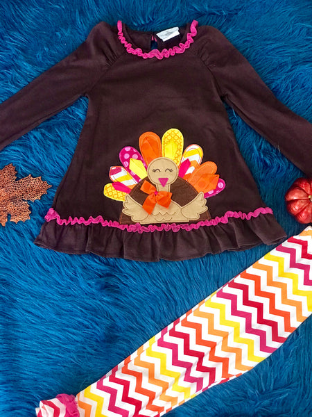 Rare Editions Colorful Turkey Thanksgiving Pant Set T - JEN'S KIDS BOUTIQUE