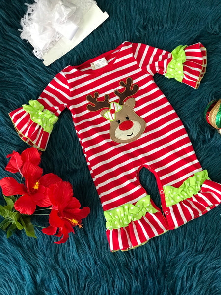 New Christmas Green Stripped Rudolph Red Nose Reindeer Ruffle Romper C - JEN'S KIDS BOUTIQUE