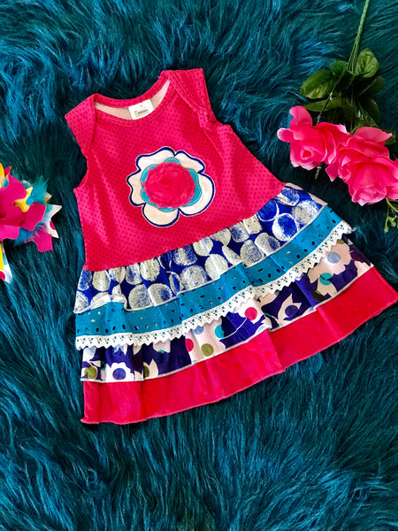 ZaZa Couture Roki & Zoe Spring & Summer Hot Pink & Blue Flower Dress - JEN'S KIDS BOUTIQUE
