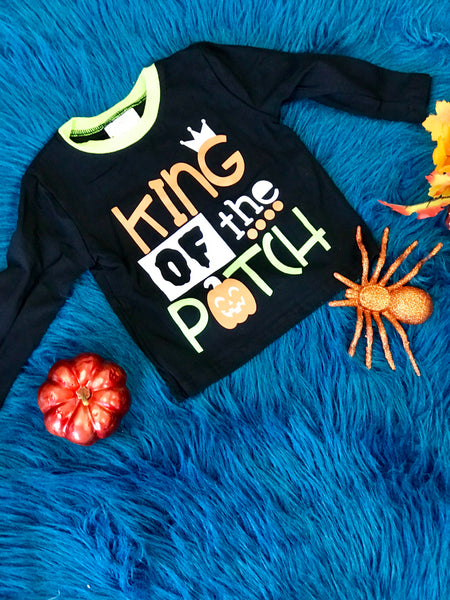 Fall Boys The King Of The Pumpkin Patch Long Sleeve Shirt H - JEN'S KIDS BOUTIQUE