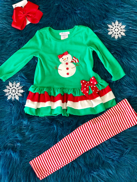 Christmas Green & Red Fun Snowman Set - JEN'S KIDS BOUTIQUE