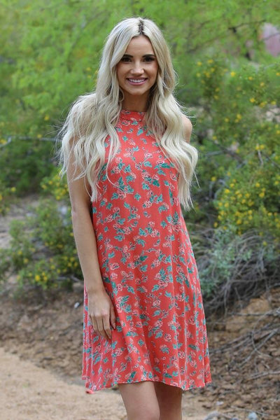 "2018 Spring Mommy & Me Women""s Coral High Neck Floral Dress - JEN'S KIDS BOUTIQUE"