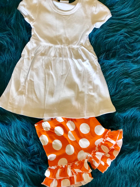 2018 Spring Easter Orange & White Polka Dot Ruffle Cotton Shorts