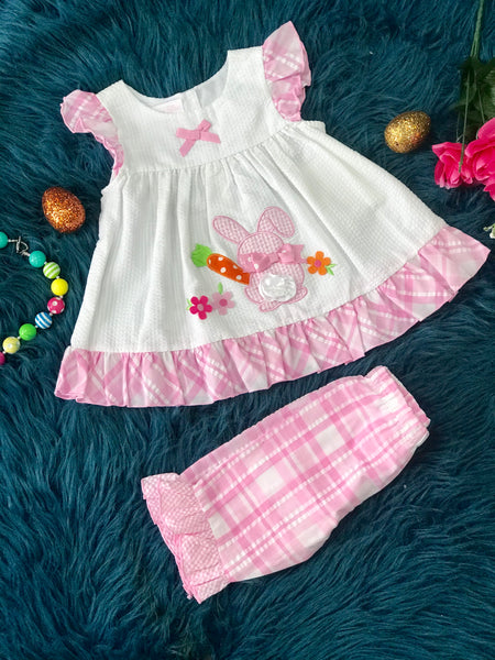 Easter Bonnie Baby White W/Pink Ruffle Bunny Tail And Carrot Set - JEN'S KIDS BOUTIQUE
