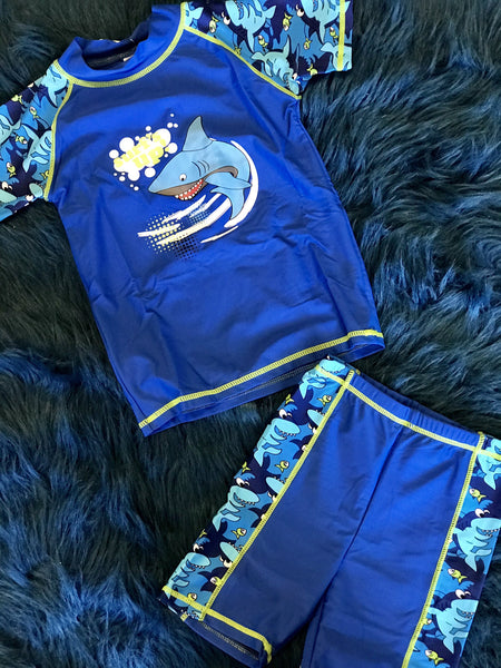 Summer Boys Sun Sharks Protection (UPF50+)  Two Piece Swimsuit - JEN'S KIDS BOUTIQUE