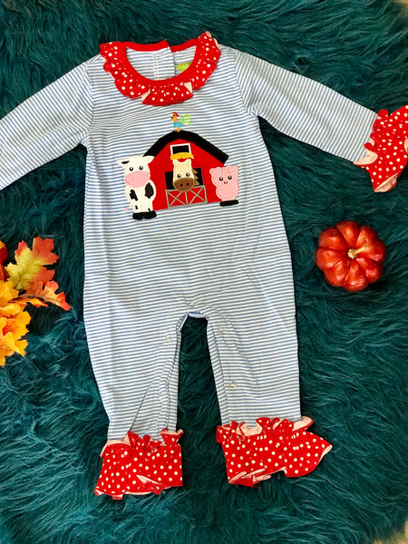 New Fall Be Mine Applique Stripped Farm Girls Ruffle Romper - JEN'S KIDS BOUTIQUE