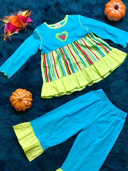 Fall Sweet Heart Aqua & Stripped Heart Pant Set - JEN'S KIDS BOUTIQUE