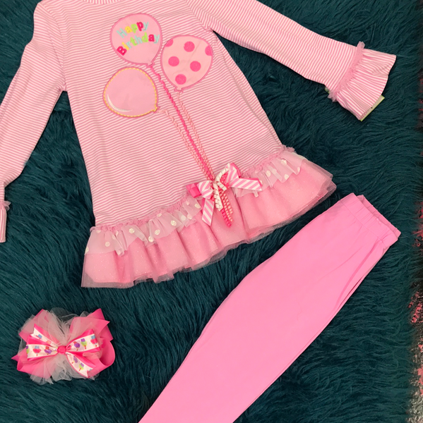 Counting Daisies Pink & White Stripped Happy Birthday Legging Set F - JEN'S KIDS BOUTIQUE