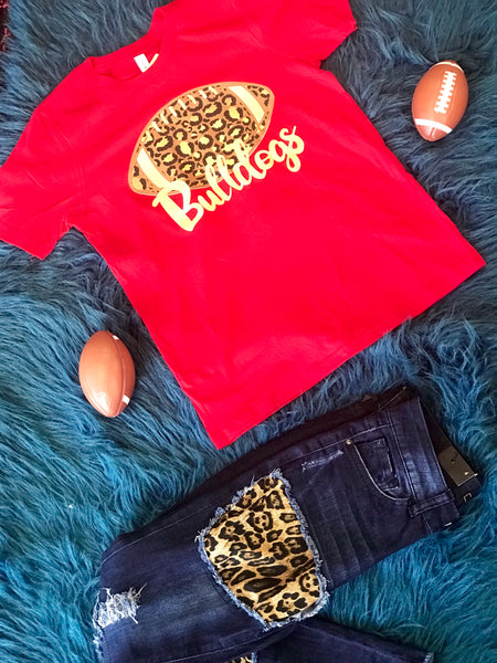 Fall Football Red Cheetah Bulldogs Women's Shirt - JEN'S KIDS BOUTIQUE