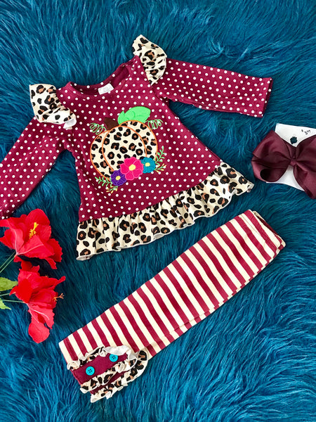 New Fall Girls Ruffle Maroon & Cheetah Pumpkin Outfit - JEN'S KIDS BOUTIQUE