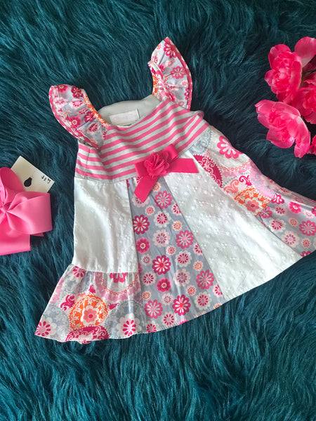 Bonnie Stripped Gray/Hot Pink Dress C - JEN'S KIDS BOUTIQUE