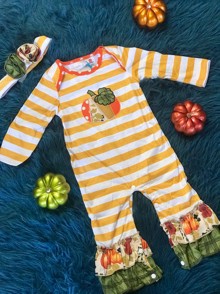 Fall Thanksgiving Vintage Pumpkin Infant Romper - JEN'S KIDS BOUTIQUE