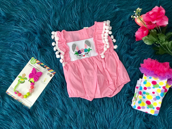 Perfect Spring Bunny Face Sleeveless W/Pom Poms Romper - JEN'S KIDS BOUTIQUE