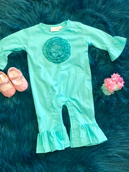 2018 Koko-Nut Milk Kids Girls Aqua Flower Romper - JEN'S KIDS BOUTIQUE