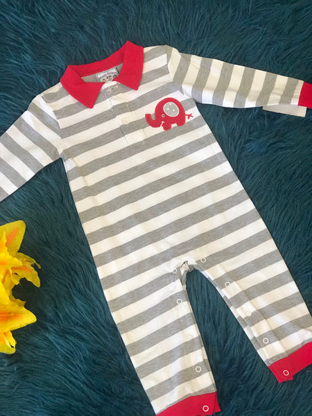 Three Sisters Fall Boys Elephant Applique Romper CL - JEN'S KIDS BOUTIQUE