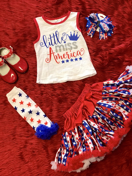 2018 Summer 4th Of July Little Miss America Shirt - JEN'S KIDS BOUTIQUE