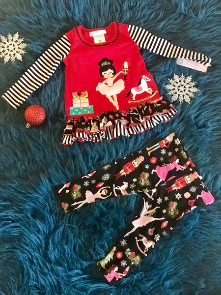 Christmas Girls Red Nutcracker Pant Set CH - JEN'S KIDS BOUTIQUE