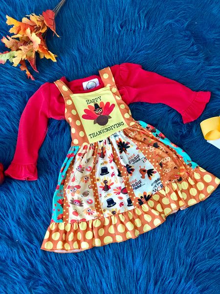 New Fall All About Turkey Multi Sleeveless Dress - JEN'S KIDS BOUTIQUE