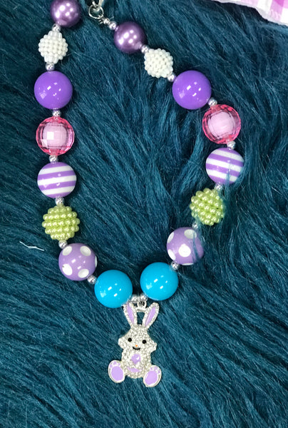 Colorful Chunky Easter Sparkle Bunny Necklace - JEN'S KIDS BOUTIQUE