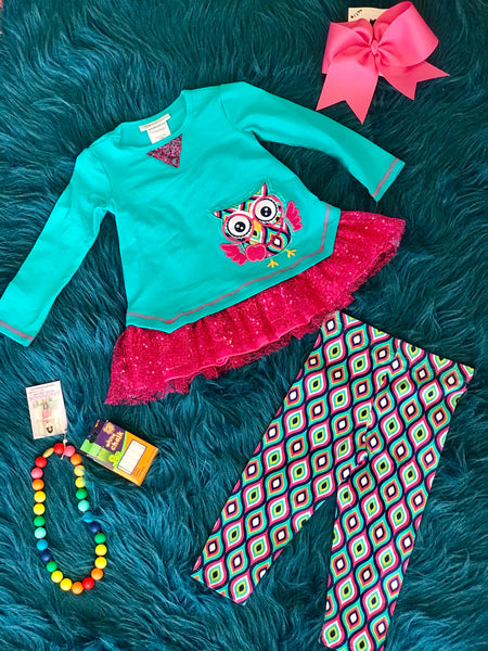 2018 School Colorful Fun Aqua Owl Pant Set - JEN'S KIDS BOUTIQUE