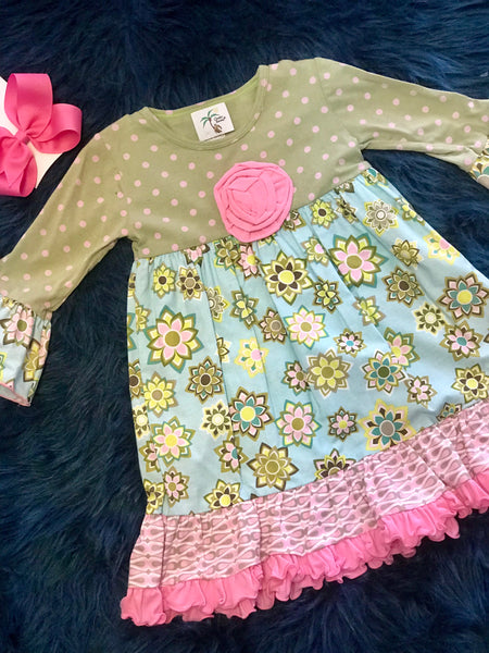 Cheeky Banana Sage And Pink Flower Dress C - JEN'S KIDS BOUTIQUE