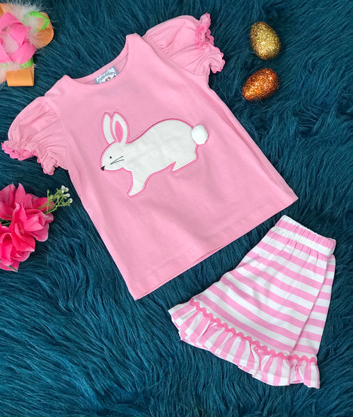 Three Sisters Easter Pink Bunny With Stripped Shorts C - JEN'S KIDS BOUTIQUE