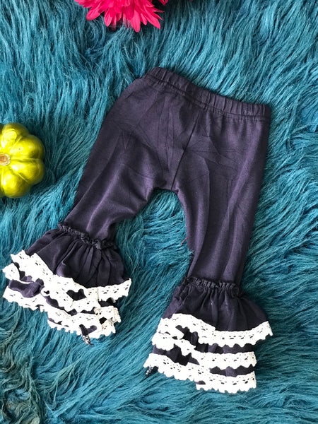 Fall Navy Leggings with White Lace - JEN'S KIDS BOUTIQUE