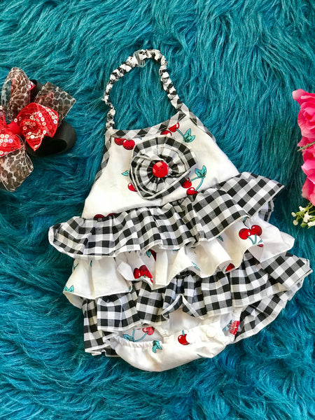 2019 Spring & Summer Girly Bird By Mack Co Red Cherry Fun Infant Bubble Romper - JEN'S KIDS BOUTIQUE