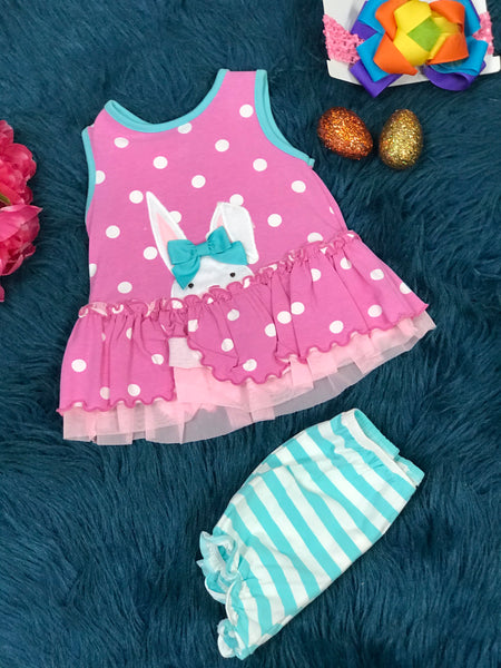 Molly & Millie Hot Pink Polka Dot Peekaboo Bunny Bloomer Set C - JEN'S KIDS BOUTIQUE