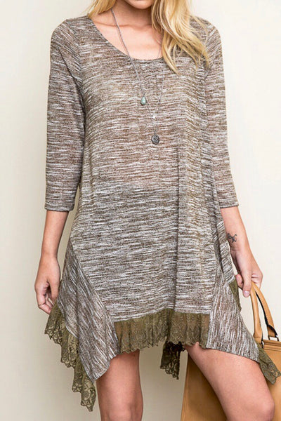 Just For Mommy Hayden Women's Sage Feathered Lace Tunic Top - JEN'S KIDS BOUTIQUE