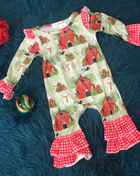 Clover Cottage Christmas Barn Ruffle Romper CH - JEN'S KIDS BOUTIQUE