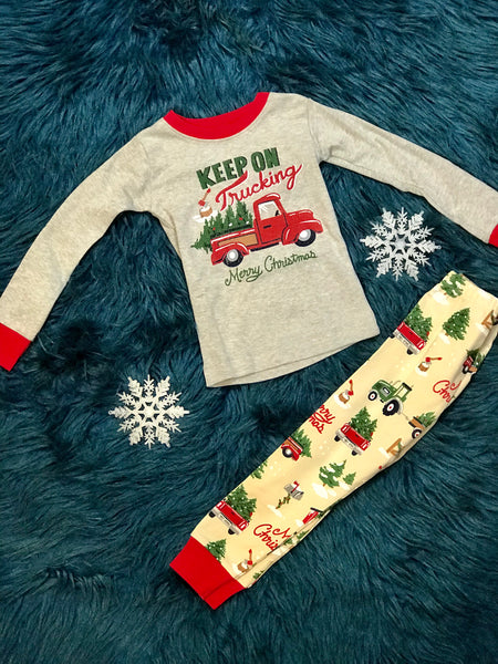 Christmas Keep On Trucking Blue House Children's Pajamas Unisex - JEN'S KIDS BOUTIQUE